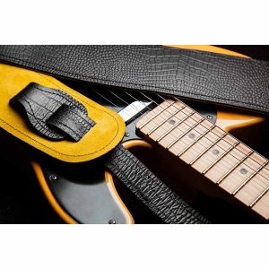Lisset leather guitar strap in black mock croc
