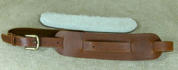Langtoft Tan Lambs Wool leather guitar strap