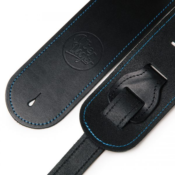 Bainton black with blue stitching from Uber Doofer Premium Leather Guitar and Instrument Straps
