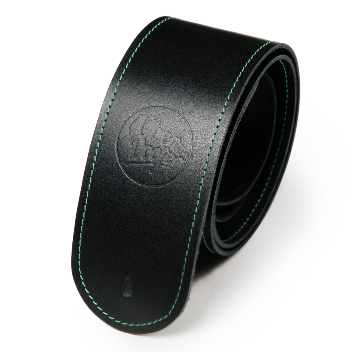 Bainton black with green stitching from Uber Doofer Premium Leather Guitar and Instrument Straps