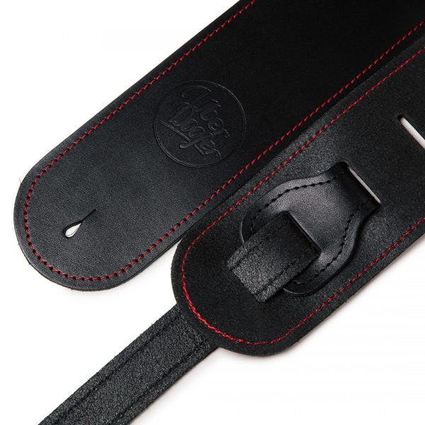Bainton black with red stitching from Uber Doofer Premium Leather Guitar and Instrument Straps