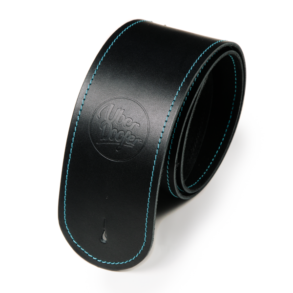 Bainton black with turquoise stitching from Uber Doofer Premium Leather Guitar and Instrument Straps