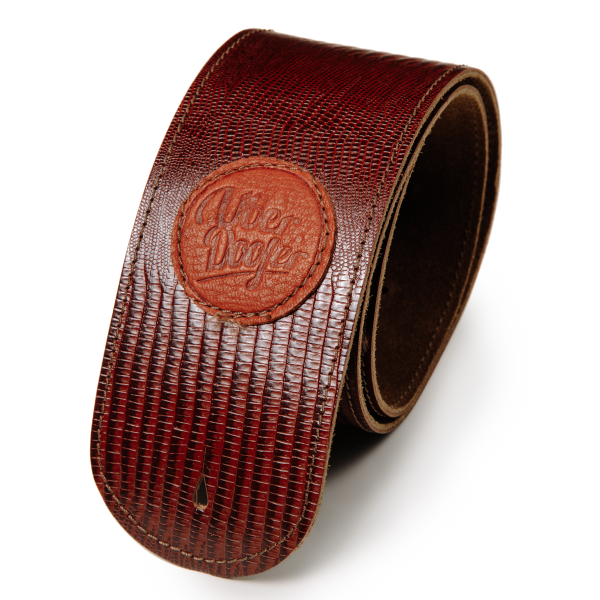 Lisset antique lizard brown limited edition premium quality leather guitar straps from Uber Doofer