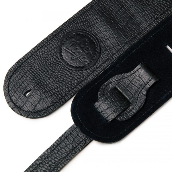 Lisset black suede limited edition premium quality leather guitar straps from Uber Doofer