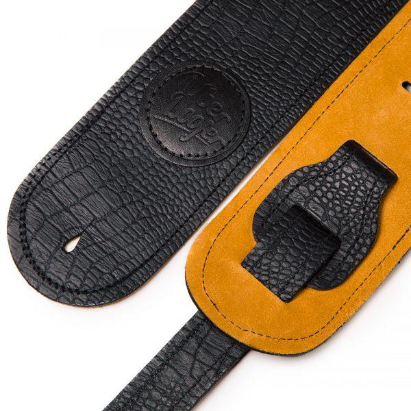 Lisset orange suede limited edition premium quality leather guitar straps from Uber Doofer