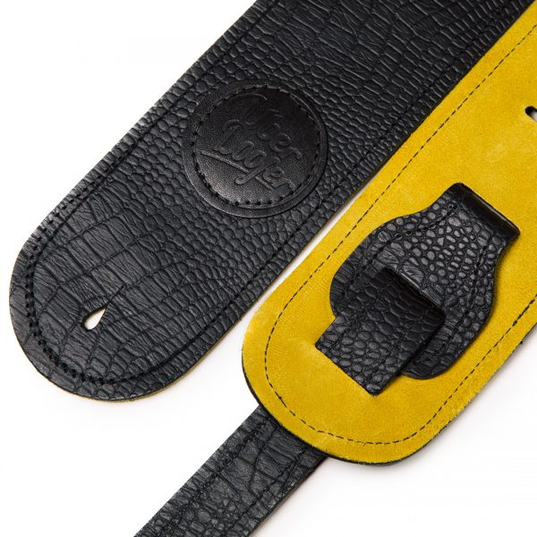 Lisset saffron suede limited edition premium quality leather guitar straps from Uber Doofer
