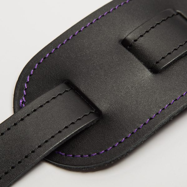 Bainton black with purple stitching from Uber Doofer Premium Leather Guitar and Instrument Straps