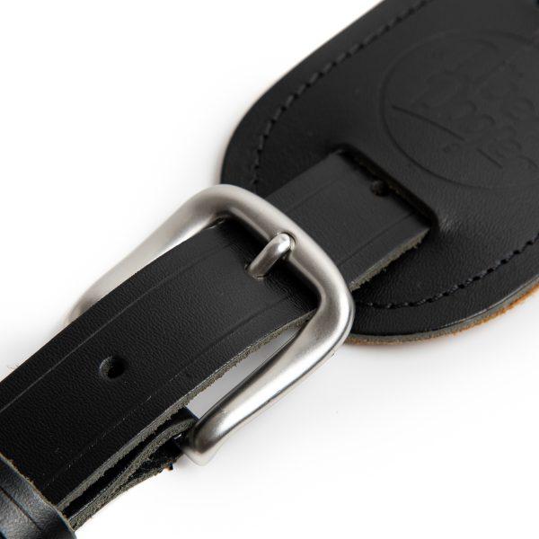 Langtoft black premium quality leather guitar straps from Uber Doofer