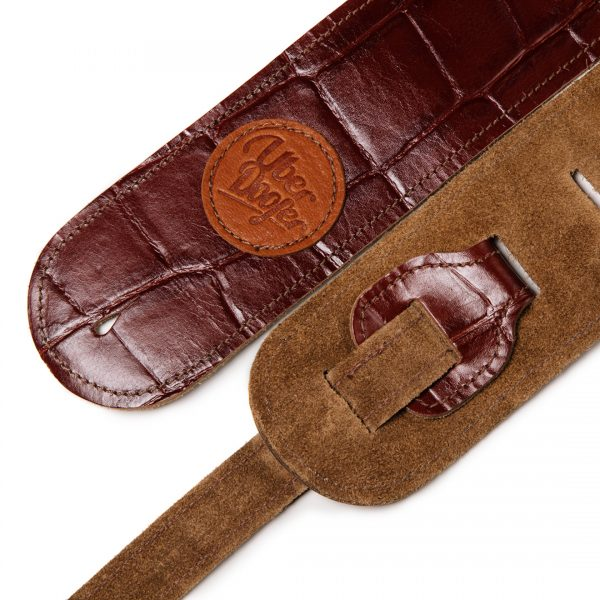Lisset antique crocodile brown limited edition premium quality leather guitar straps from Uber Doofer