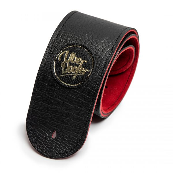 Lisset red lining limited edition premium quality leather guitar straps from Uber Doofer